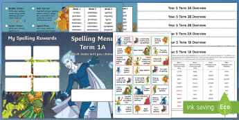 Year 5 Superhero Themed Spelling Menu Pack -  spag, gps, home learning, weekly, lists, test,