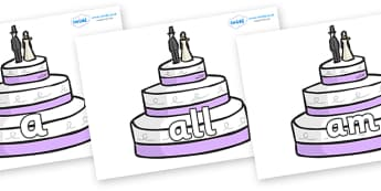Foundation Stage 2 Keywords on Wedding Cakes - FS2, CLL, keywords, Communication language and literacy,  Display, Key words, high frequency words, foundation stage literacy, DfES Letters and Sounds, Letters and Sounds, spelling