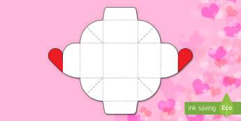 Simple Glueless Valentine's Heart Gift Box Paper Craft - valentine's day, craft activities, valentine's day, hearts, ks1, ks2