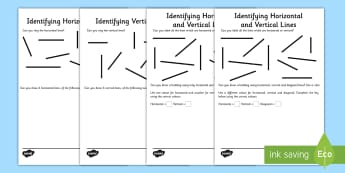 Identifying Horizontal and Vertical Lines Activity Sheet Pack - maths, parallel, perpendicular, horizontal, vertical, lines, worksheet