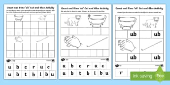 Onset and Rime 'ub' Cut and Glue  Differentiated Activity Sheets - EYLF, Literacy, phonological awareness, onset and rime, cvc words, english, kindergarten, pre-primar