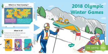 KS1 Winter Olympics 2018 Information PowerPoint - Pyeongchang, sport, competition, international, bobsleigh, curling, skating, curling, ice hockey, sk