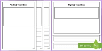 Half Term Recount Writing Frames - half term news, holiday recount, what I did on my holiday,