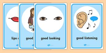 Good Listening Display Posters - Good listening, listen, behaviour management, SEN, good sitting, good listening, good looking, lips closed, listening, brain box