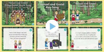 Hansel and Gretel Songs and Rhymes PowerPoints Pack - Hansel, Gretel, fairy tales, grimm, witch, old lady