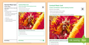 Carnival Higher Tier Photo Card Activity - Celebrations, speaking, picture, talk, GCSE, description, mask, oral, speaking test, exam