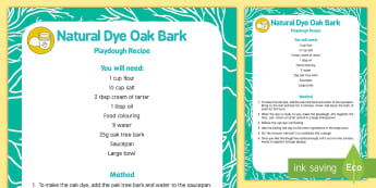 Natural Dye Oak Bark Playdough Recipe