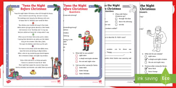 KS1 Twas the Night Before Christmas Differentiated Reading Comprehension Activity - Christmas, Santa, Story, Poem, Poetry