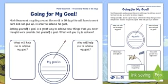 KS1 Around the World in 80 Days Personal Goal Setting Challenge - Mark Beaumont, cycle, cycling, bike, bicycle, challenge, adventure, goal, target, setting, World Rec