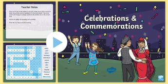 Celebrations and Commemorations Interactive Word Search - National days, intercultural understanding, Personal and social capability, Festivals, Asia and Aust