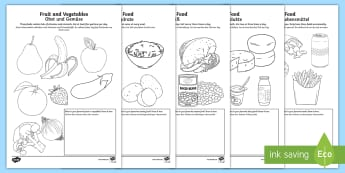 Healthy Eating Colouring Pages English/German - Food, nutrition, health, healthy eating, food types, EAL, German
