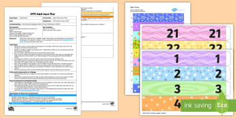 EYFS Paper Chain Party Time Adult Input Plan and Resource Pack - EYFS Uses Everyday Language Related to Time, shape space measure, SSM, Time, Time order, Mathematics