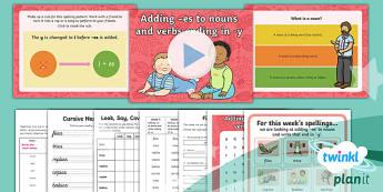 PlanIt Y2 Term 1B W5: 'ies' Spelling Pack - Spelling Packs Y2, Term 1B, Week 5, 'ies'
