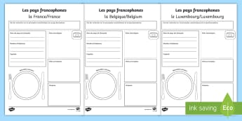 Exposé sur les pays francophones - Aide au travail écrit - French-speaking countries, francophone, francophonie, research, project, writing frame, template, french, speaking, countries, country, fact, file