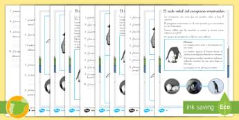 Comprensión lectora de atención a la diversidad: El ciclo vital del pingüino emperador - aves, animales, ciclo de vida, huevo, polluelo, adulto, lectura, leer, escritura, escribir, primaria