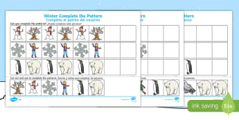 Winter Themed Complete the Pattern Activity Sheet - English / Spanish - Winter, Christmas, seasons, pattern, repeating pattern, worksheet, activity sheet, EAL,Spanish-trans