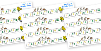 Australian Animal Number Track (1-10) - Maths, Math, number track, australian animals, numbertrack, Counting, Numberline, Number line, Counting on, Counting back