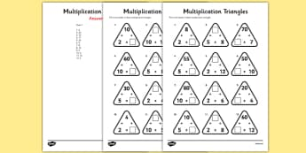 Multiplication Triangles Activity Sheet 2, 5 and 10 Times Tables - multiplication triangles, times table, times tables, worksheet