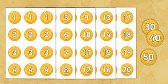 Numbered Pirate Coin Cut-Outs - Pirate, Pirates, Topic, Word card,word cards, Fantasy topic, treasure, money, numeracy, coins, bounty