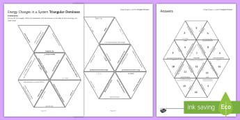 Energy Changes Tarsia Triangular Dominoes - tarsia, gcse, physics, energy, energy changes, energy transfer, joule, joules, power, specific heat, plenary activity