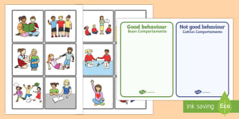 Classroom Behaviour Sorting and Discussion Cards Italian/English - Classroom Behaviour Sorting and Discussion Cards - classroom behaviour, sorting, discussion, cards