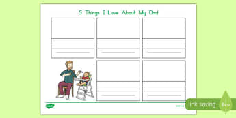 Australia Father's Day  5 Things I love about my Dad Worksheet / Activity Sheet-Australia, worksheet