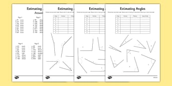 Estimating Angles Activity Sheet - estimating, angles, activity sheet, activity, sheet, worksheet