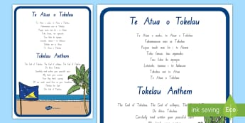 Tokelau Anthem Large Display Poster - tokelau, tokelauan, tokelau language week, national anthem, pasifika, anthem