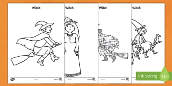 Halloween Witch Colouring Pages