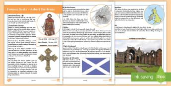 Scottish Significant Individual Robert the Bruce Fact File - CfE Scottish Significant Individuals, Robert the Bruce, Scottish Wars of Independence, the Bruce, fa