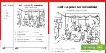 Feuille d'activité sur le thème de Noël : La place de la préposition - grammaire, hiver, compléter, phrase, cycle 2,French