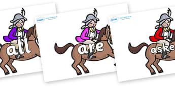 Tricky Words on King's Horses - Tricky words, DfES Letters and Sounds, Letters and sounds, display, words