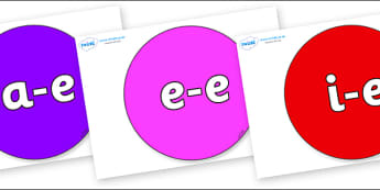 Modifying E Letters on Circles - Modifying E, letters, modify, Phase 5, Phase five, alternative spellings for phonemes, DfES letters and Sounds