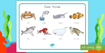 Ocean Animals Word Mat - Habitats, Habitat, Ocean Habitat, Ocean, Beach Habitat, Beach, Ocean Word Mat, Ocean animals, Ocean