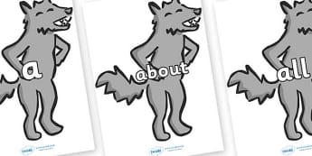 100 High Frequency Words on Wolf - High frequency words, hfw, DfES Letters and Sounds, Letters and Sounds, display words