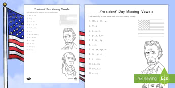 Presidents' Day Missing Vowels Activity Sheet - American Presidents, American History, Social Studies, George Washington, Abraham Lincoln, White Hou