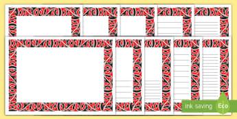 Mangopare Hammerhead Kowhaiwhai Page Border Pack - kowhaiwhai, māori, mangopare, Hammerhead, pattern, page border