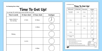 Time To Get Up Worksheet / Activity Sheet - time, 24 hour, 12 hour conversions, home education, fact of the day, worksheet