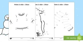 Feuilles d'activités : Points à relier -  L'hiver  - Hiver, winter,dot to dot, points à relier,French - Hiver, winter,dot to dot, points à relier,French