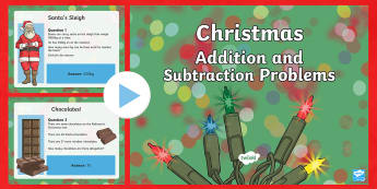Addition and Subtraction Christmas PowerPoint  - maths, mathematics, numeracy, PowerPoint, problem solving, addition, add, sum, subtraction, takeaway