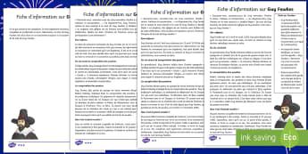 Compréhension écrite : Guy Fawkes - Bonfire night, histoire, complot,régicide, 16eme siècle,French