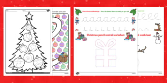 Christmas Themed Pencil Control  Activity Pack