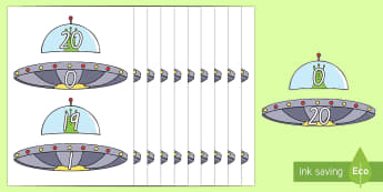 Number Bonds to 20 Aliens and Spaceships Cut-Outs - New Zealand, maths, numbers bonds, numbers to 20, Years 1-3, aliens, spaceships, matching cards, act