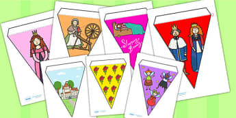 Sleeping Beauty Bunting - sleeping beauty, bunting, themed bunting, display bunting, display, bunting flags, flag bunting, cut out bunting, paper bunting