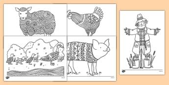 Coloriages anti-stress : La ferme - arts plastiques, arts, couleurs, cycle 1, cycle 2, cycle 3, ferme, farm