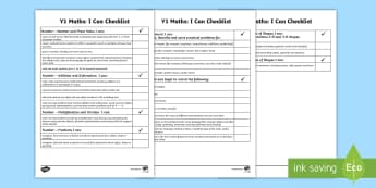 Year 1 Maths Assessment I Can Statements Checklist -  Year 1 Maths Assessment I Can Statements Checklist - targets, math, maths assessemnt, sats, maths a