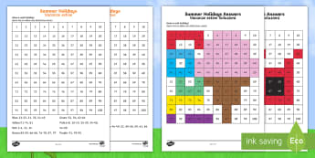 Summer Holidays Colour by Number 100s Chart Worksheet / Activity Sheets Italian/English - End of Year, worksheet, EAL, last day, maths, transition, 100s grid, chart