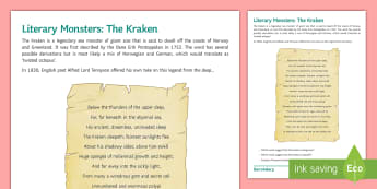 Literary Monsters: The Kraken  - Tennyson, poetry, sonnet, monster, myth, Twenty Thousand Leagues, 20,000 Leagues