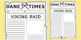 Viking Raid Newspaper Template - vikings, writing, literacy, raid