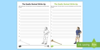 The Gaelic Revival Write Up Activity Sheet - Famine, Emigration, Irish Culture, Irish Traditions, GAA, Hurling, Football, Irish Music, Irish Danc
